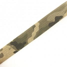Sangle élastique camouflage 35 mm - sable x 50cm