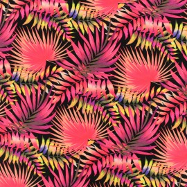 Tissu Lycra Maillot de bain Jungle - rose x 10cm