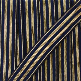 20 mm striped lurex elastic band Louis  - blue/gold x 1m