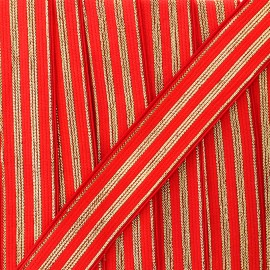 20 mm striped lurex elastic band Louis  - red/gold