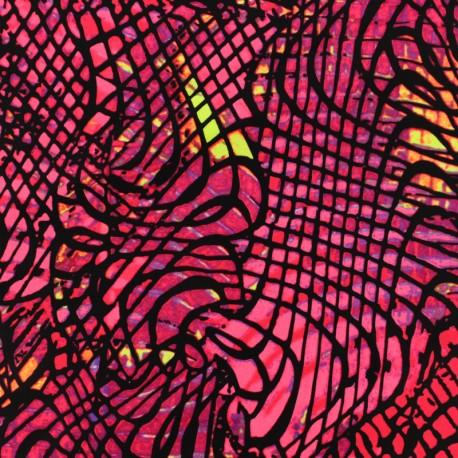 Tissu Lycra épais Maillot de bain - Croco d'îles - rose x 10cm