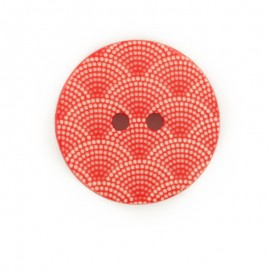Bouton polyester Ecaille - rouge
