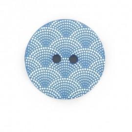 Bouton polyester Ecaille - bleu