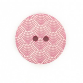Bouton polyester Ecaille - rose