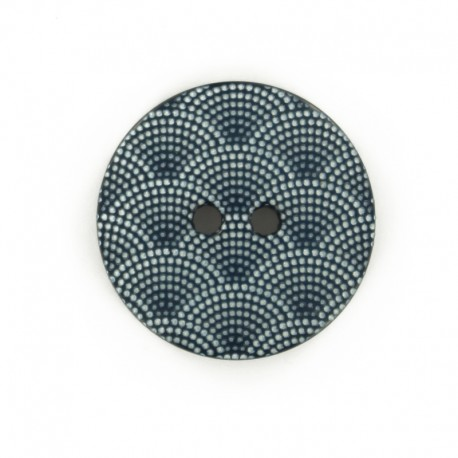 Polyester button Scallop - navy blue