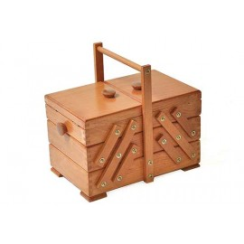 Wooden cantilever Sewing box - Brown