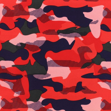 Thick Swimsuit Lycra fabric - Camouflage - red x 10cm