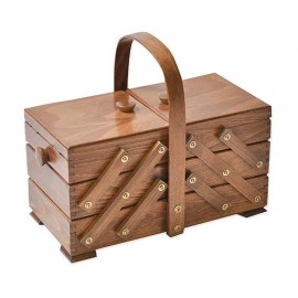 Wooden cantilever Sewing box - Brown - round handle