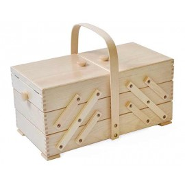 Wooden cantilever Sewing box - round handle