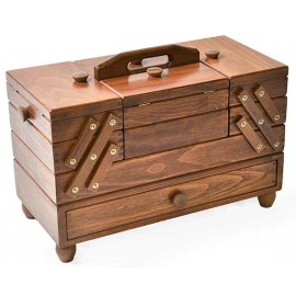 Wooden cantilever Sewing box with drawers - brown