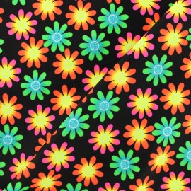 ♥ Only one piece 30 cm X 150 cm ♥ Thick Swimsuit Lycra fabric - Flower power - neon