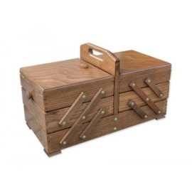 Wooden cantilever Sewing box brown