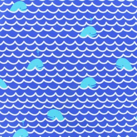 Thick Swimsuit Lycra fabric - Whale - blue and x 10cm