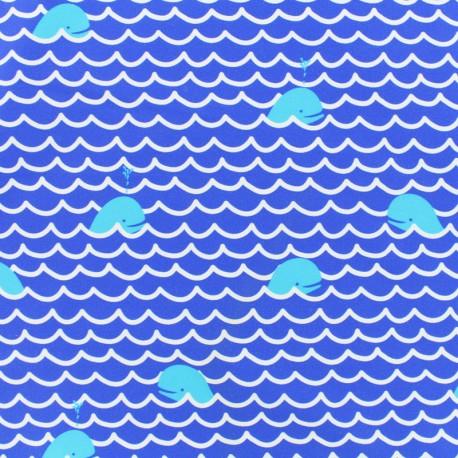 Tissu Lycra épais Maillot de bain - Baleines - bleu et blanc x 10cm