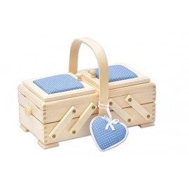 Wooden cantilever Sewing box and blue fabric - Size S