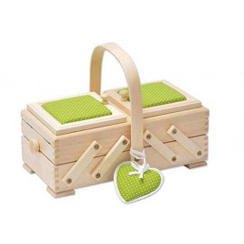 Wooden cantilever Sewing box and green fabric - Size S