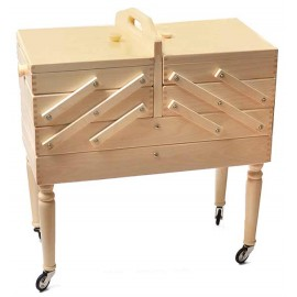 Wooden cantilever Sewing box on feet - 3 floors and drawer