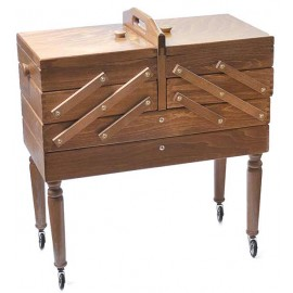 Wooden cantilever Sewing box on feet brown - 3 floors and drawer