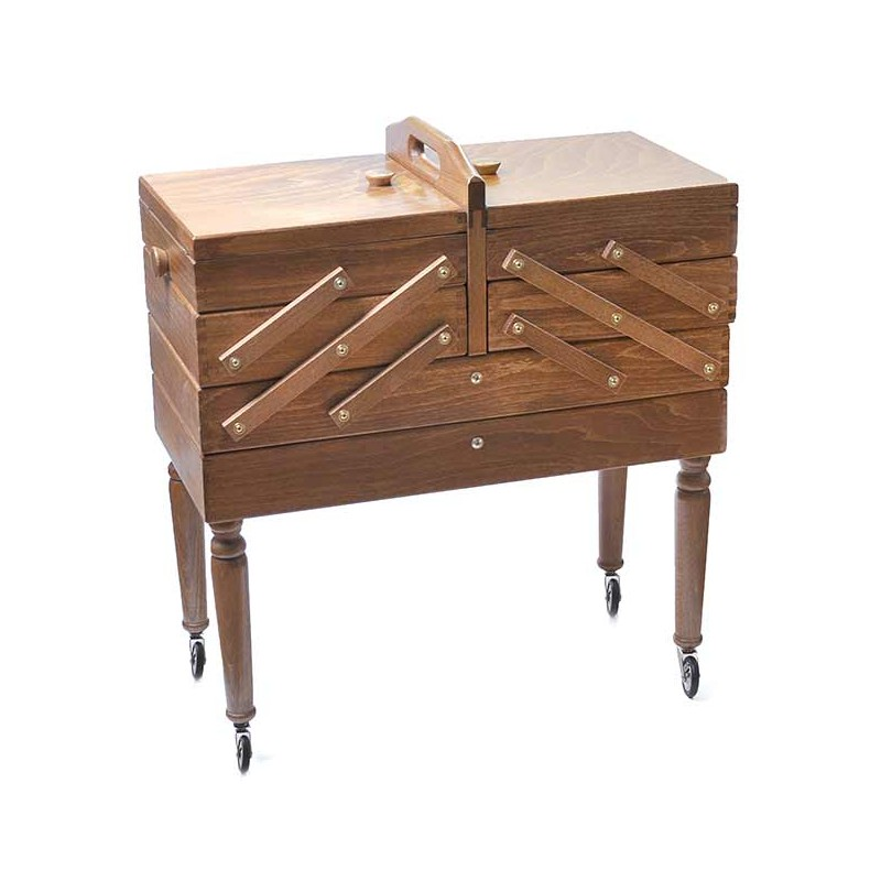 travailleuse bois 3 niveaux avec tiroir sur pieds marron livraison gratuite. Black Bedroom Furniture Sets. Home Design Ideas