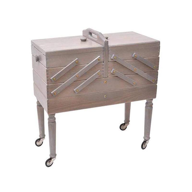 travailleuse bois 3 niveaux avec tiroir sur pieds gris antique livraison gratuite. Black Bedroom Furniture Sets. Home Design Ideas