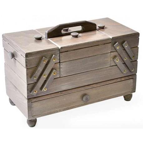 Travailleuse à tiroir en bois gris antique - 3 étages