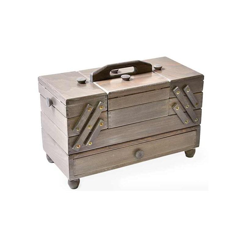 travailleuse bois gris antique boite couture haute qualit livraison gratuite. Black Bedroom Furniture Sets. Home Design Ideas