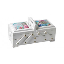 Wooden cantilever Sewing box white design annabella blue - Size S