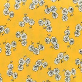 Tissu coton popeline satinée - roses graphiques - jaune x 10cm