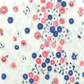 Tissu coton popeline satinée - Centaurée - blanc x 10cm