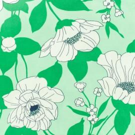 Tissu viscose pivoine - vert x 10 cm