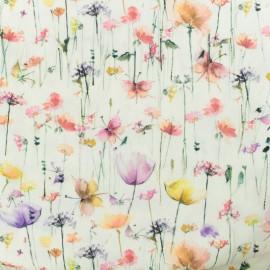 Tissu coton popeline satinée - Fleurs des champs - rose x 10cm