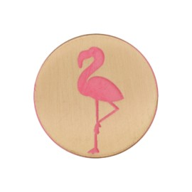 Tropico collection flamingos button - pink/brushed gold