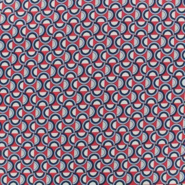 Cotton fabric satin poplin - Plate - coral x 10cm