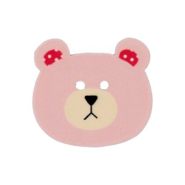 28 mm Teddy bear polyester button - pink