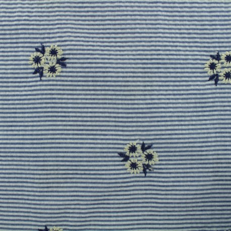 flowers on stripes Seersucker fabric - blue x 10cm
