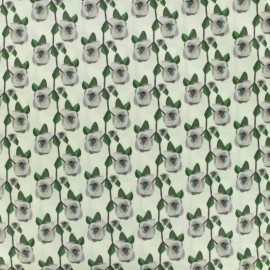 Cotton fabric satin poplin - May flower - beige x 10cm