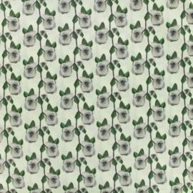 Tissu coton popeline satinée - May flower - beige x 10cm