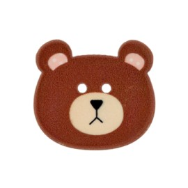 Bouton polyester Ourson 28 mm - marron