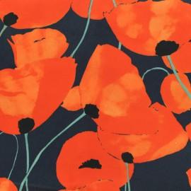 Tissu Gabardine satiné Pavots - orange et marine x 10cm