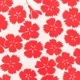 Cotton fabric satin poplin - Danish flower - red x 10cm