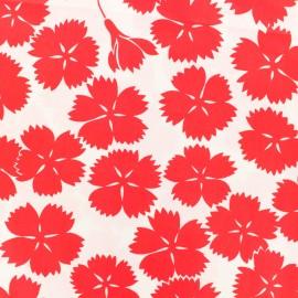 Tissu coton popeline satinée - Danish flowers - rouge x 10cm