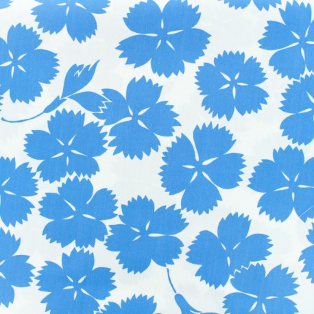 Tissu coton popeline satinée - Danish flowers - bleu x 10cm