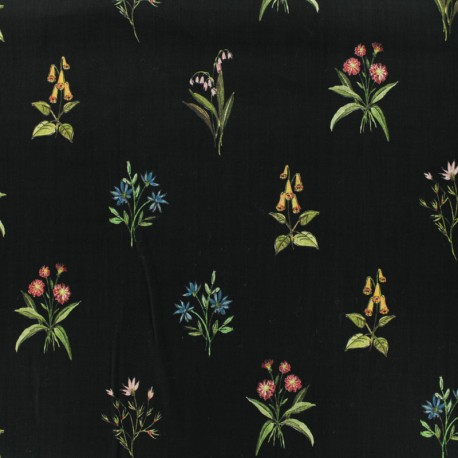 Tissu coton popeline satinée - herbier - noir x 10cm