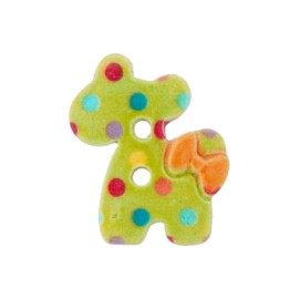 30 mm animal abstract polyester button - green