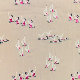 Cotton fabric satin poplin - synchronized dance - old pink x 10cm