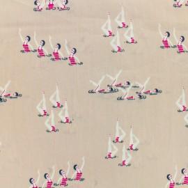 Tissu coton popeline satinée - danse synchronisée - vieux rose x 10cm
