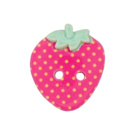 Bouton polyester fraise d'amour 27 mm - fuchsia