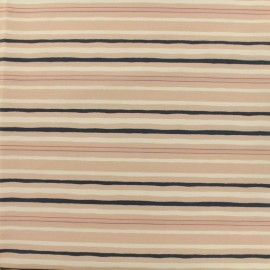 Cotton fabric satin poplin - stripes - old pink and navy x 10cm