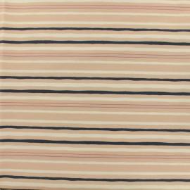 Tissu coton popeline satinée - rayures - vieux rose et marine x 10cm