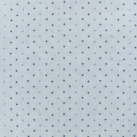 Cotton chambray fabric - diamonds - blue x 10cm